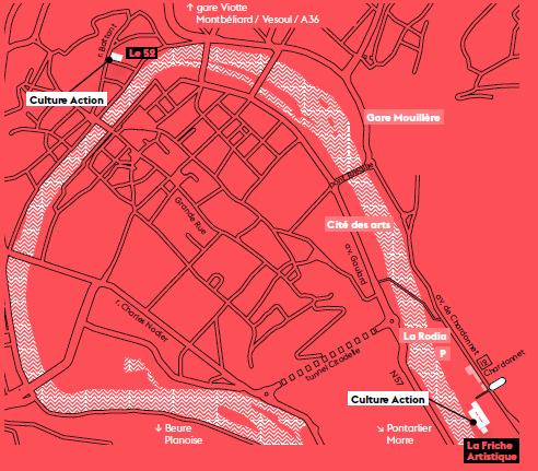 cette image est un plan expliquant l'emplacement de nos deux sites à Besançon